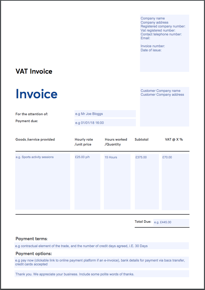 Invoice template for a VAT-registered business