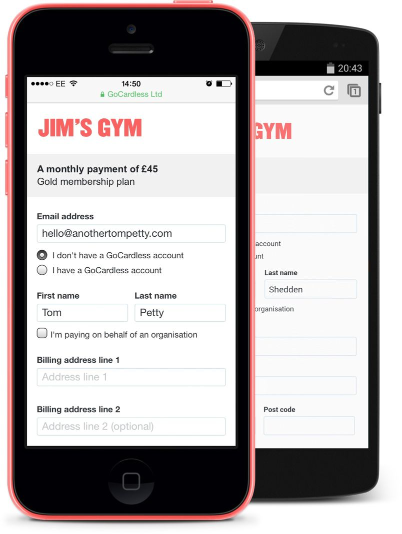 Jim's Gym, a monthly payment of £45, shown on iPhone and Android